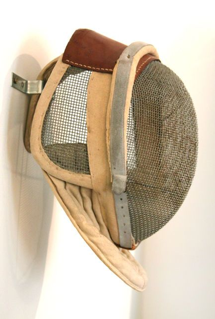 Antique Fencing Mask with Leather Detail image 2