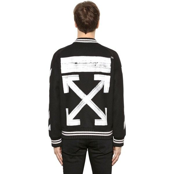 Off White Men Brushed Arrows Wool Bomber Jacket ($1,100) ❤ liked on Polyvore featuring men's fashion, men's clothing, men's outerwear, men's jackets, black, mens bomber jacket, men's wool bomber jacket, mens wool jacket and men's embroidered bomber jacket