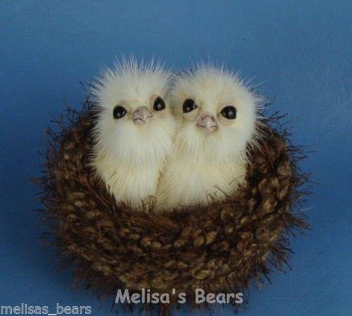 OOAK Mink Fur Realistic Baby Owls Owl Chick Owlets ~ Bear Artist Melisa Nichols