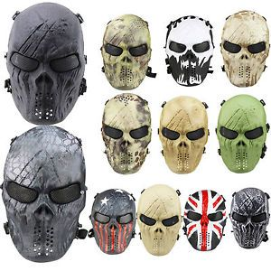 Airsoft Paintball Tactical Full Face Mask Skull Skeleton Gear Halloween War Game $14