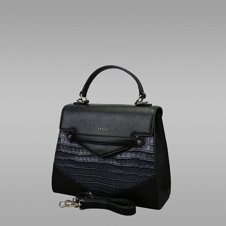 Black Colour Cross-Sectional Leather Handbag