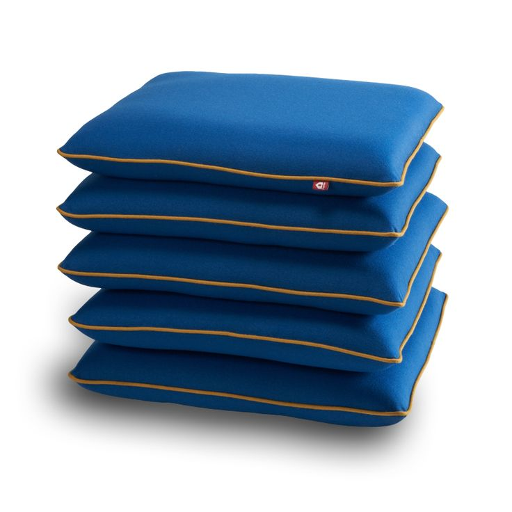 """Popsicle Collection:  seating element """"Pile me up, she said""""   color: blue with ochre piping   size: 50 x 50 x 45 cm"""