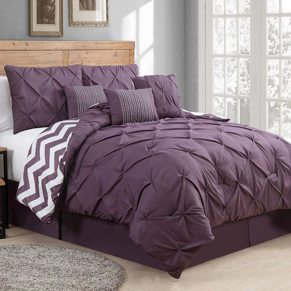 Avondale Manor Ella Pinch Pleat 7-pc. Comforter Set, Purple (135 CAD) ❤ liked on Polyvore featuring home, bed & bath, bedding, comforters, purple, chevron queen comforter set, king size comforter set, queen comforter set, purple queen comforter set and king size pillow shams