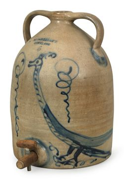 "Six-Gallon ""Gooney Bird""Stoneware Water Jug ,sold at Pook and Pook,for $48,800.00."