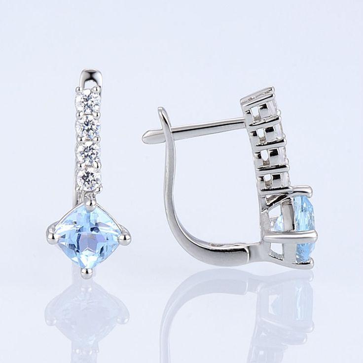 Stud Earrings for Ladies Pure Stone Sky Blue Topaz AAA Cubic Zirconia CZ Diamond Earrings Pure 925 Sterling Silver Earrings - Silver Jewellery 925 - SHOP NOW