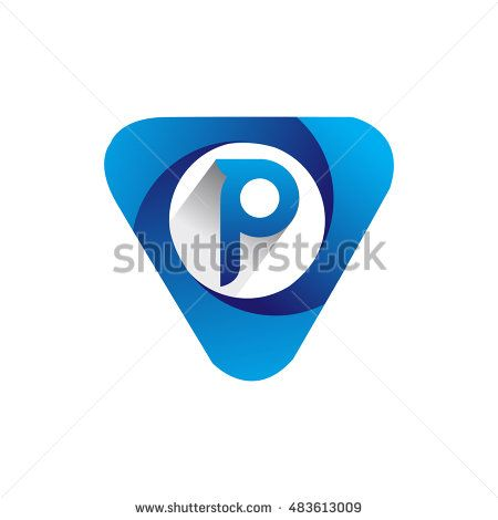 Logo letter P blue colored in the triangle shape, Vector design template…