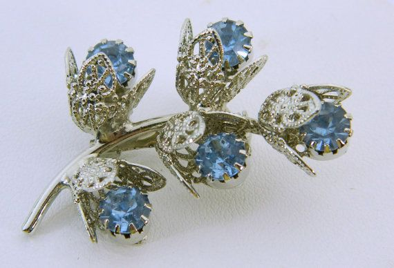 Blue Rhinestone Brooch Silver Tone by QueeniesCollectibles on Etsy, $12.99