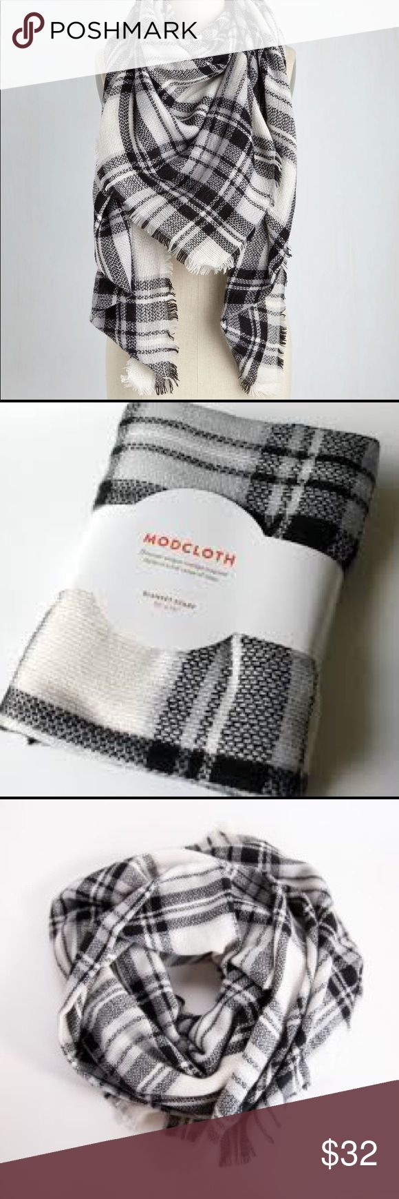 NWT Modcloth blanket scarf Black and white tartan plaid blanket scarf. Super cute and chunky, great to keep you warm and to keep you fashionable! It's NWT because it was packaged in a tag but I took it out to show the full scarf! Modcloth Accessories Scarves & Wraps