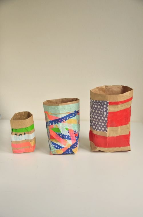 Big & Small Project: Household Containers for Organizing Your Stuff. Made from Duct Tape or Washi Tape. You can even use them outdoors!    |   Design Mom