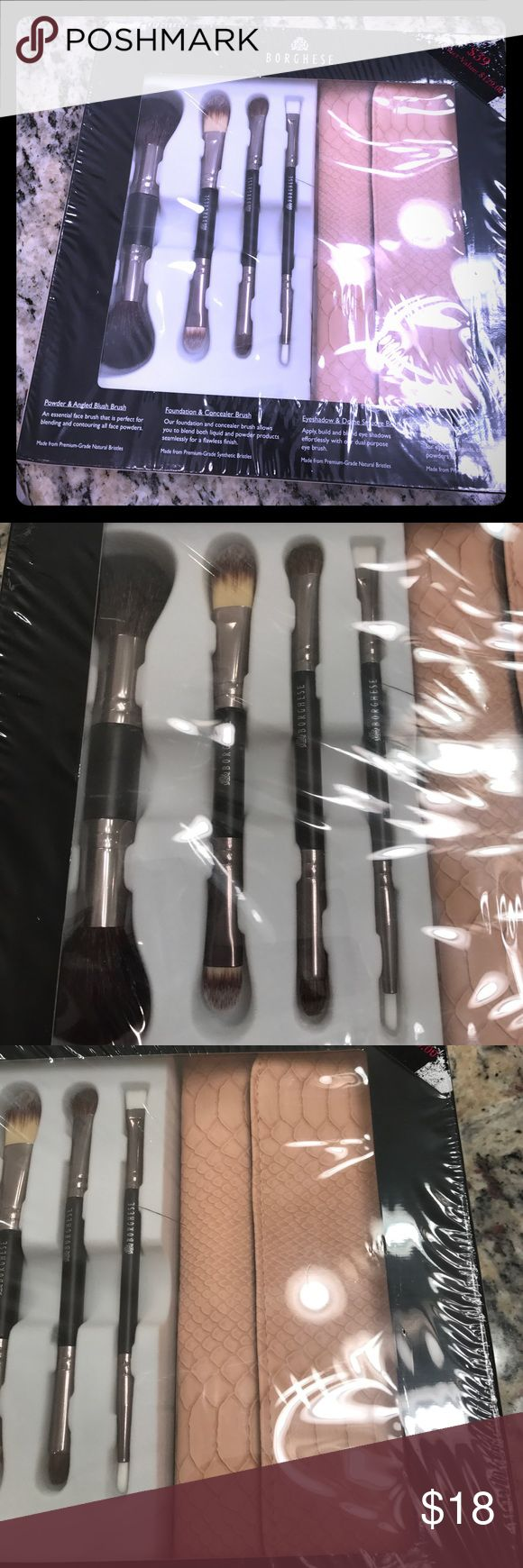 Borghese ProfessionalSelect doubleended brush set Borghese ProfessionalSelect doubleended brush set. New in package with four double ended brushes and a carrying bag.  New in package. Never opened Borghese Makeup Brushes & Tools