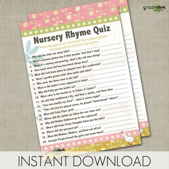 instant download nursery rhyme quiz baby shower game printable game card pink