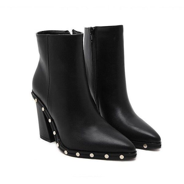 Stud Pointed Ankle Boots ($58) ❤ liked on Polyvore featuring shoes, boots, ankle booties, short boots, bootie boots, pointed-toe boots, pointed booties and short studded boots