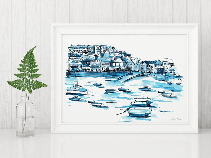 St Ives Harbour Cornwall Illustration Print A4 by LizzieMayDesign on Etsy