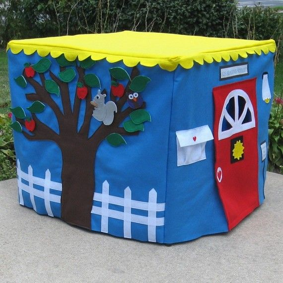 What a great DIY kid gift idea! All kids love tents, just throw it over a card table, so cute