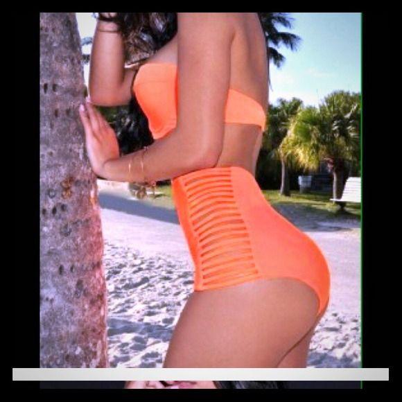 Cute orange high waist bikini Brand new never worn, purchased off of Poshmark & unfortunately doesnt fit me. Swim Bikinis