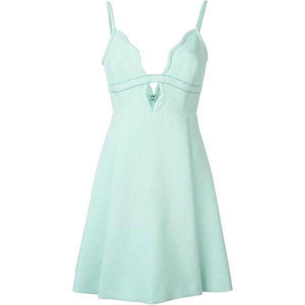 Giambattista Valli V Neck Mini Dress ($2,307) ❤ liked on Polyvore featuring dresses, blue, v neck short dress, v-neck dresses, short silk dress, short dresses and blue mini dress