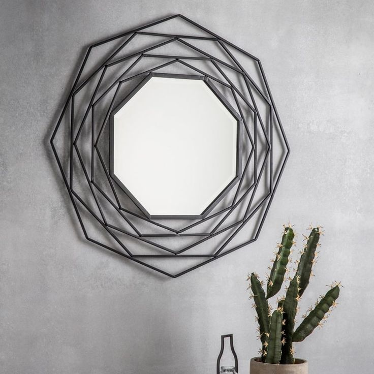 Octave Geometric Metal Wall Mirror Dark Grey | Modern Mirrors