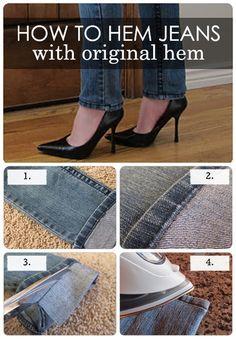 How to Hem Jeans with original hem Find the easy to follow tutorial here: http://doityourselfdivas.blogspot.com/2011/12/diy-hem-jeans-fast-easy.html