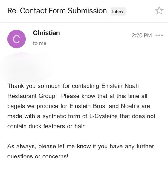 Noah's Bagels and Einstein Bros. now have VEGAN Bagels (No more duck feather or human hair-derived L-Cysteine)