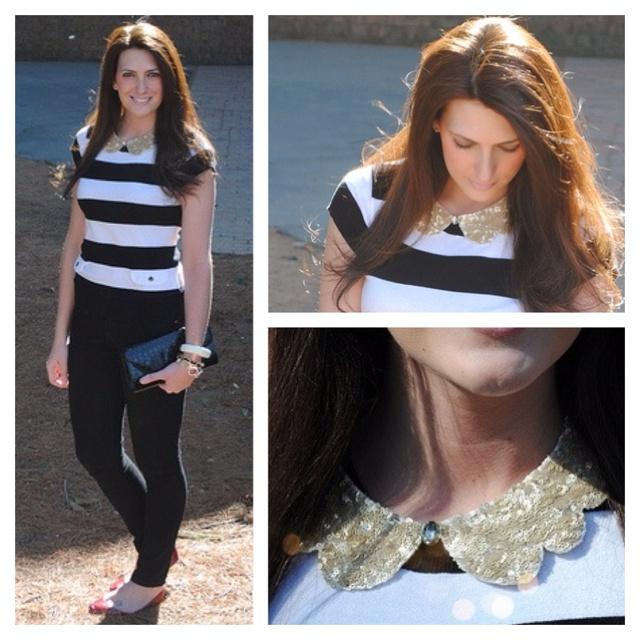 Ben Sherman sweater, Gap skinny jeans, Viola Jane sequin collar