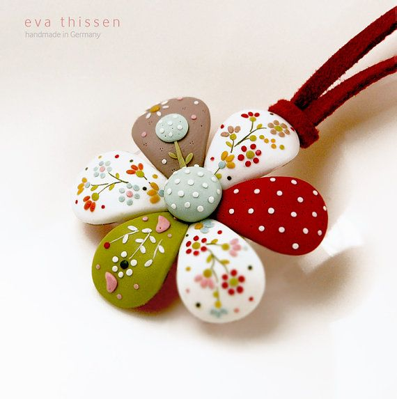 Patchwork flower. Whimsical handmade polymer clay flower pendant. Made to order