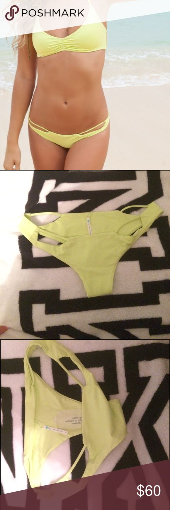 Bettinis Acid Lime new cut out Bikini bottom Small Brand new. This is color is really hard to find and I finally found it to match the top but it is too small for me :( (I wear size 4) bettinis Swim Bikinis