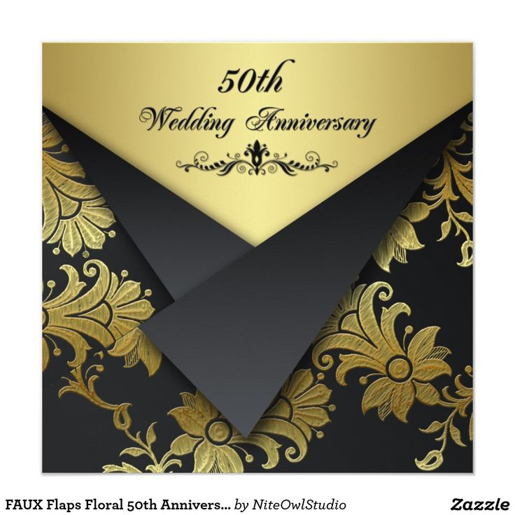 FAUX Flaps Floral 50th Anniversary Invitation 41