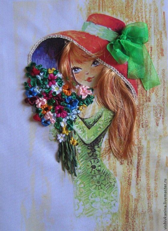 Купить Девчушка с полевыми цветами - девушка, цветы, бантик, ленты атласные, ленты из органзы