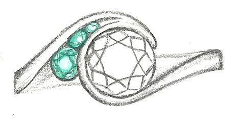Mark Schneider Design - Escape engagement ring sketch with tsavorite accents