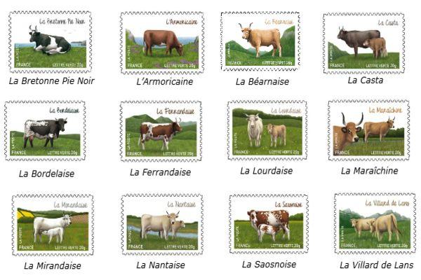 Le 22 février 2014, à l'occasion du Salon de l'Agriculture, La Poste va émettre un carnet de 12 timbres présentant les races de vaches françaises à très faibles effectifs, peu connues du grand public.