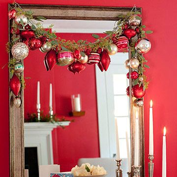Here we've added large ornaments to a draped garland!Doors, Dining Rooms, Mirrors, Christmas Decor Ideas, Living Room, Christmas Garlands, Christmas Ideas, Holiday Decor, Ornaments