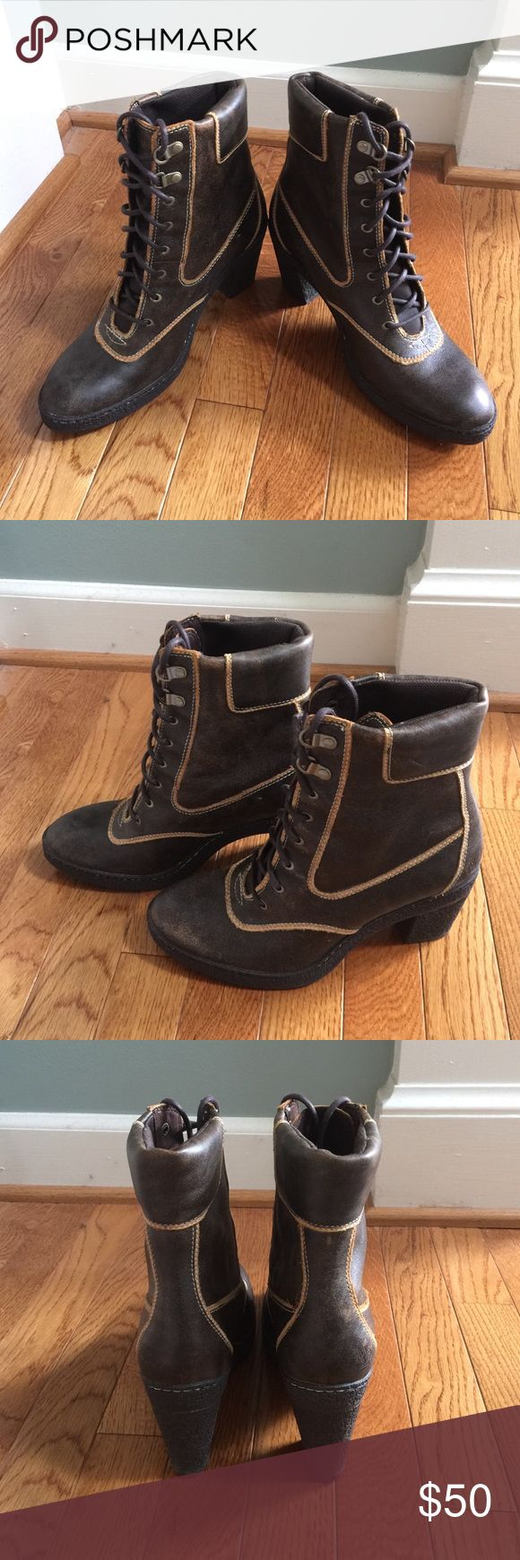 """💞 NWOT Ladies Timberland Boots 💞 NWOT Ladies Authentic Timberland Lace Up Closure Boots have genuine leather upper with leather and man-made lining and man-made outsole.  Heel height is 3.25"""".  Brand new, never worn.  Smoke-free, pet-free home. Timberland Shoes Heeled Boots"""