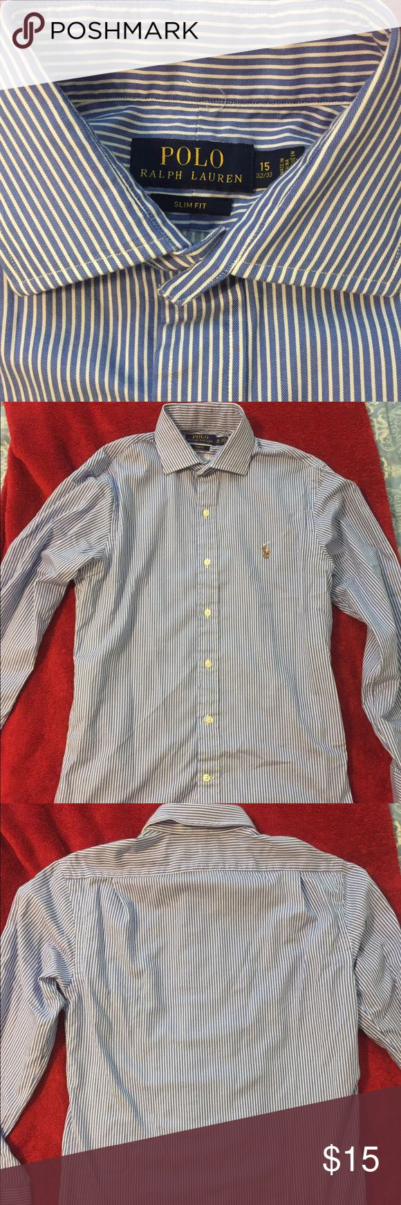 """Polo Ralph Lauren Slim Fit Dress Shirt Like new Polo Ralph Lauren Dress Shirt. Slim-Fit, Neck: 15"""", Arm: 32/33, Chest: 20"""", Length: 31"""". Blue with white pencil stripes. Spread collar. Polo by Ralph Lauren Shirts Dress Shirts"""