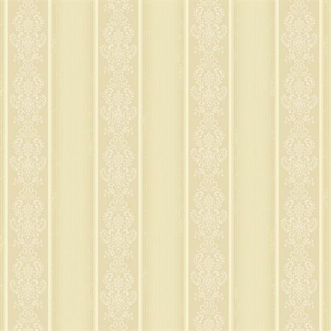 Wonderful Arabelle Beige Damask Stripe Wallpaper