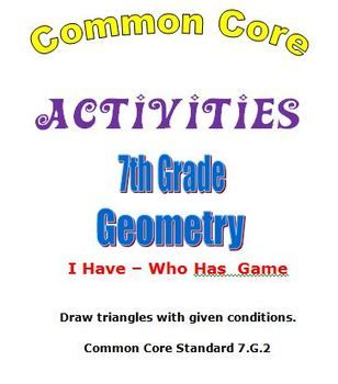Common Core Math 7th Grade Geometry Activities Plus I Have $3.00