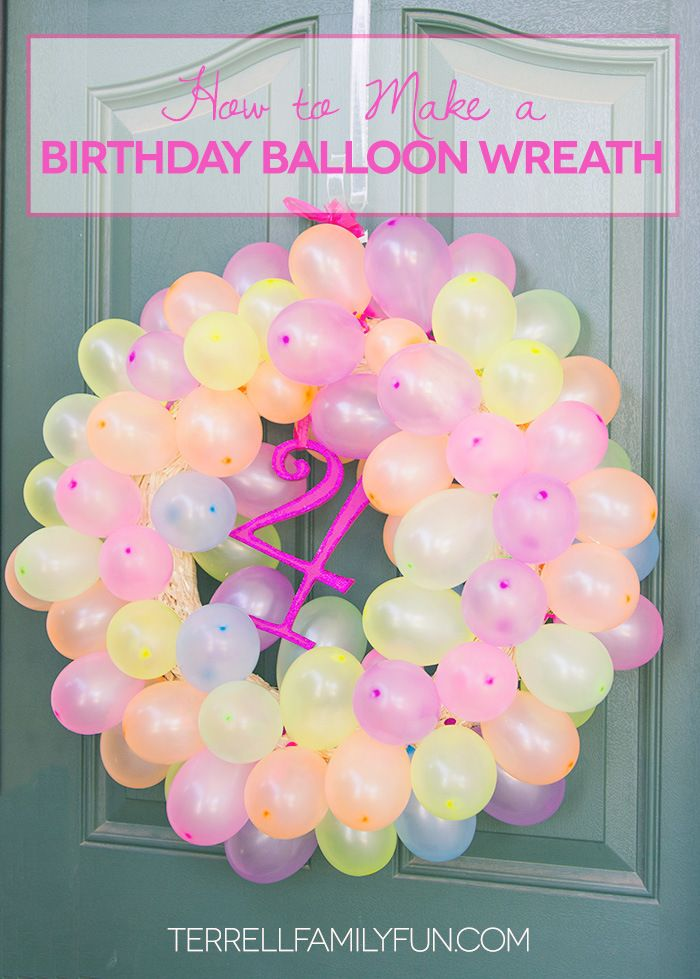 How to Make a Balloon Wreath, Birthday Wreath #DIY #crafts http://terrellfamilyfun.com/2014/07/how-to-make-a-balloon-wreath/