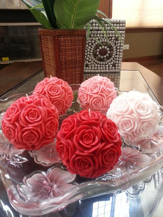 HANDMADE Big Carved Rose Ball/Round Candles