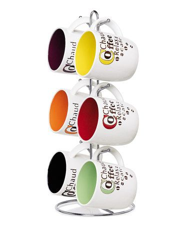 Loving this 'Coffee' Phrases Mug & Stand Set on #zulily! #zulilyfinds