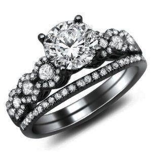 amazoncom 126ct round diamond engagement ring bridal set 18k black gold with - Black Gold Wedding Ring Sets