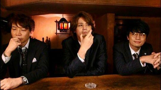 From left to right: Junichi Suwabe ( Oda Sakunosuke ), Miyano Mamoru ( Dazai Osamu ) & Jun Fukuyama ( Sakaguchi Ango )