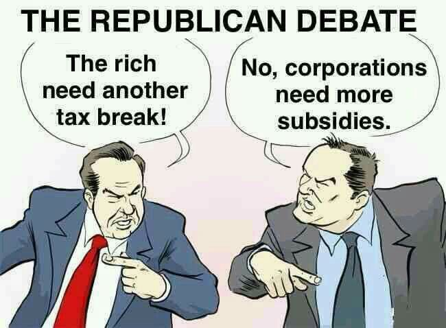 Republican values and their greed for corporate handouts to them...