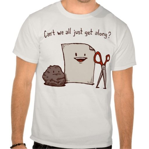 Can't we all just get along? Funny Rock, Paper, Scissors T Shirt - Clothes, fashion for women, men, teens and kids