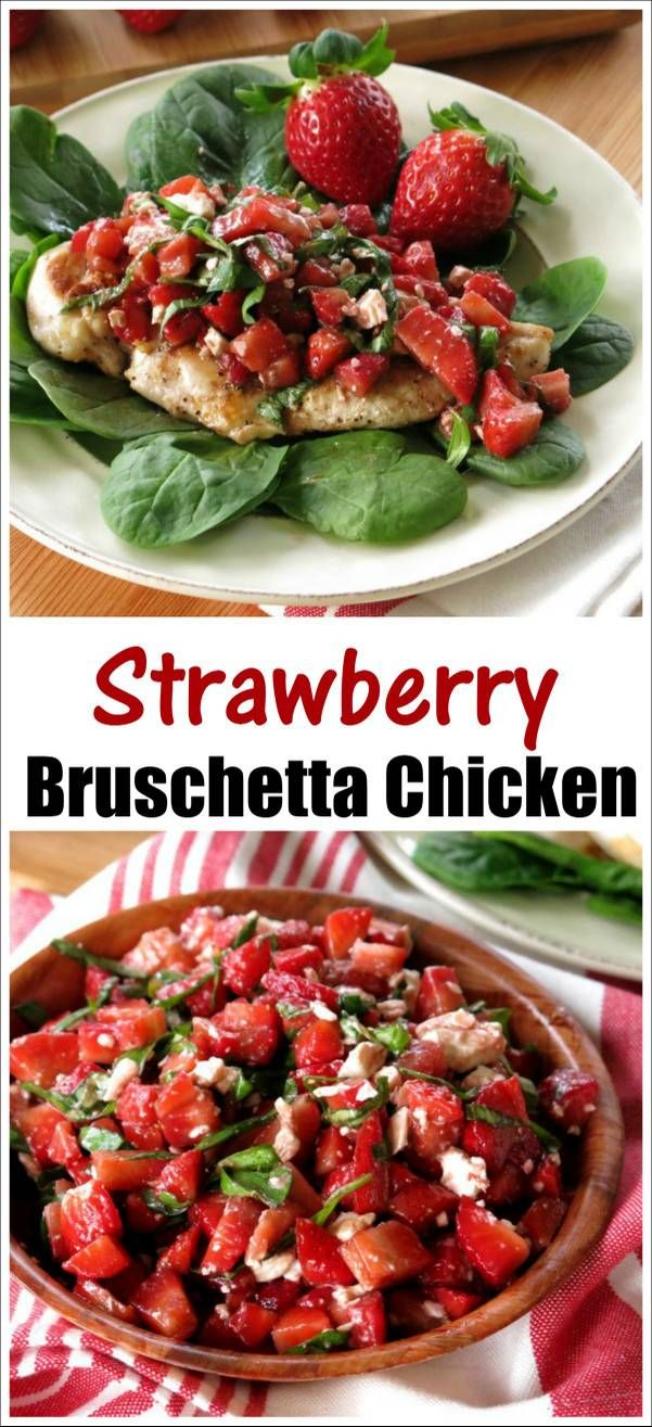 Strawberry Bruschetta Chicken recipe is a symphony of strawberries, feta cheese, basil and balsamic vinegar served over chicken that cooks in minutes on the stove-top for a quick, healthy, delicious and very beautiful dinner! @Flastrawberries ‪#‎FLStrawberry‬ ‪#‎SundaySupper‬