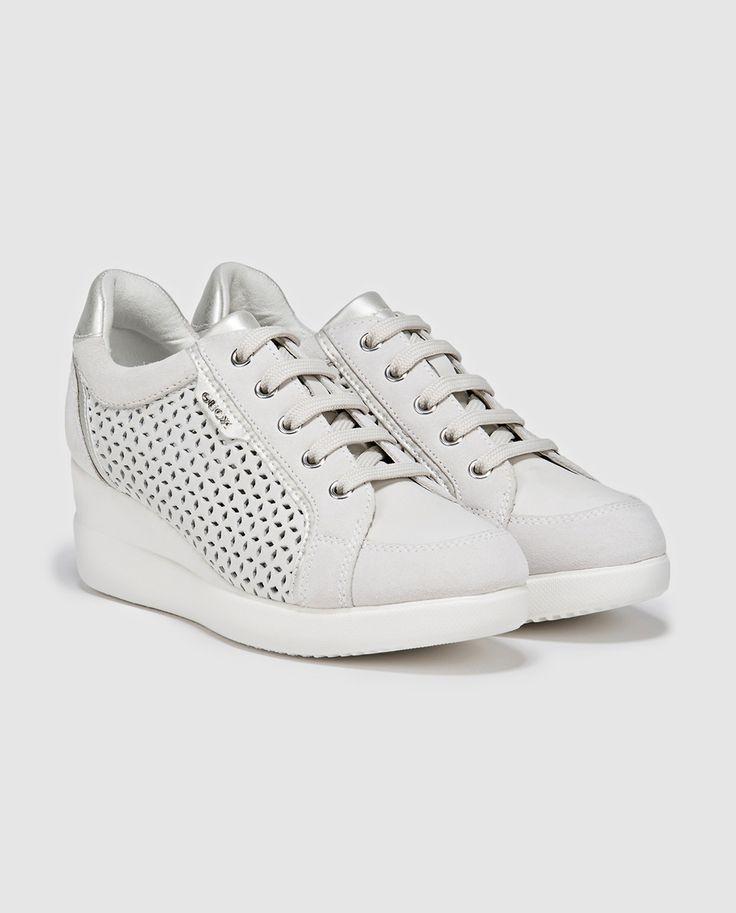 Zapatillas de piel de mujer de Geox grises