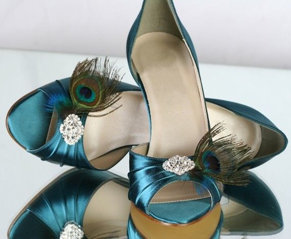 Peacock Teal Shoes 2.5 Heel... Choose Your Own Rhinestone Bling...Available In 100 Colors. $144.00, via Etsy.