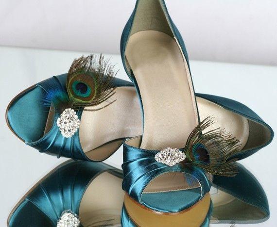 Peacock Shoes - Wedding Shoes Parisxox By Arbie Goodfellow - $156.00