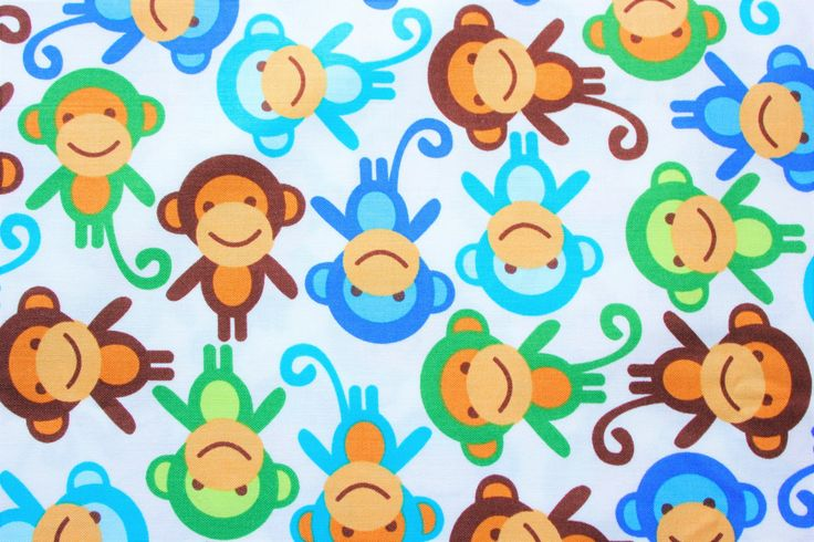Robert Kaufman Fabrics, Cotton Fabric, Monkey Royale, Ann Kelle, Urban Zoologie, White, Sheets, Rompers, Shirts, Blankets, Half Metre by TwoChubbyRabbits on Etsy