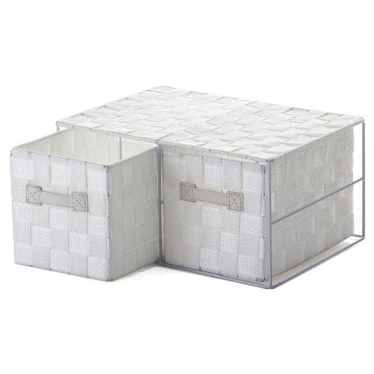 Cajonera 2 cajones con asas blanco 33x25x17cm 24271