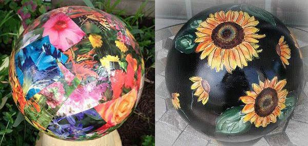 Decoupage garden balls; could be done on the inside of the globe for better durability -- decoupage flowers then swirl paint to cover.