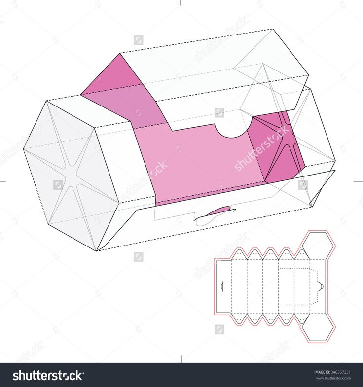 Hexagonal dispenser box with die cut template stock vector for Box templates vector